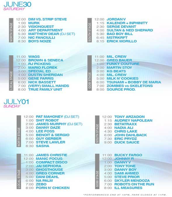 Wavefront Festival schedule 2012